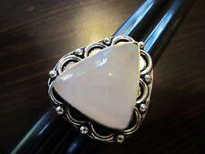 925 Sterling Silver Signed VTG Detailed Ornament Pink Quartz Stone Ring Sz7-7g