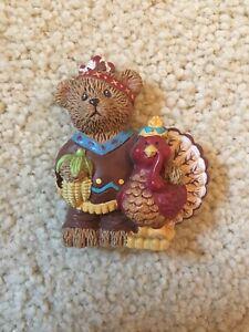 Vintage Russ Berrie & Co., Inc. Thanksgiving Bear Turkey Magnet