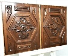 Pair gothic rosett flower panel Antique french carved wood architectural salvage