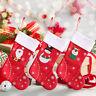 Christmas Stocking Santa Claus Sock Candy Bag Plaid Burlap Holder Tree Decor 76