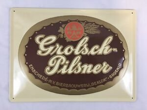 "RARE Grolsch Pilsner DE KLOK Beer Metal Bar Sign Holland Brewery Pub 11"" x 15"""