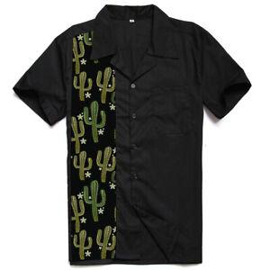 Men's Shirts Design Cactus Print Rock N Roll Casual Rockabilly Summer Shirt