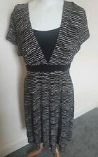 BHS Striped Stretchy Animal Print Belted Work Office Casual Dress Size 20