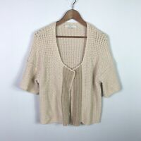 Ann Taylor Loft Cardigan Size Medium Beige Short Sleeve Open Front Knit Sweater