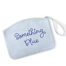 Bolsa de maquillaje de boda novia algo azul, azul lona maquillaje caso, Novia Regalo