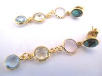 Multicolor Edelstein Design Ohrringe, 925 Silber vergoldet