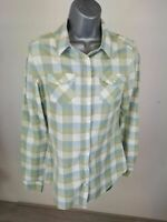 WOMENS FAT FACE GREEN WHITE BLUE BUTTON DOWN LONG SLEEVE SHIRT BLOUSE UK 8