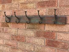 Vintage Indian Wooden & Iron Coat Hooks Hook Hangers 5 Hooks Wall Fixed