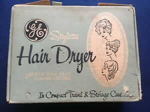 VINTAGE 1962 GENERAL ELECTRIC GE STYLETTE HD3 HAIR DRYER: IN ORIGINAL BOX W/DIAL
