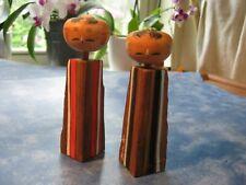 "Vintage Pair Of Japanese Wooden Vertical Stripe Kokeshi Dolls 4.5"""