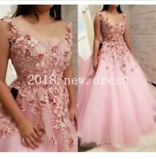 Romantic Lace Tulle Long Evening Dresses Ball Gowns Formal Prom 3D Flowers Dress