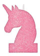Pink Glitter Unicorn Party Candle