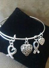 Expandable Silver Colored Handmade Bangle Charm Bracelet AWARENESS HEART RIBBON