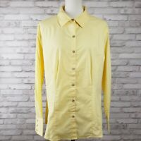 Chico's 3 sz XL yellow blouse button-front shirt silky cotton tags attached