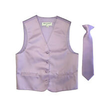 New Boy's Kid's formal Tuxedo Vest Waistcoat & Necktie lavender US size 2-14