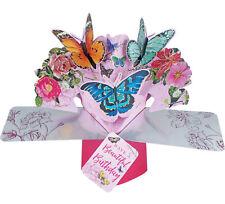 Edle Pop-Up 3D Grußkarte Geburtstag mit Schmetterlinge & Blumen Gr. 17x23cm