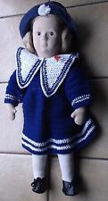 Stoffpuppe Puppe ca.43cm groß blonde Haare mit Matrosenkleid