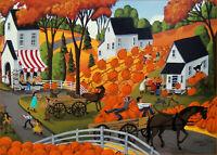 Autumn landscape pumpkins Festival harvest barn Giclee ACEO art print Criswell 3