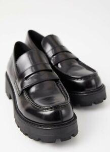 Vagabond loafers black leather patent shoes platform New With Box Size 5 EU 38