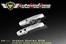 Fit 05-12 Nissan Sentra Chrome 2 Door Handle Cover Covers w/ Smart Key Cutout