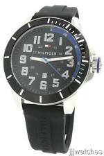 New Tommy Hilfiger Black Rubber Band Date Men oversize Watch 52mm 1791072