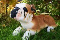 British Bulldog Sitting Lying Soft Toy Plush Brown & White 40cmL