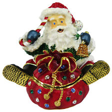RUCINNI Santa/Red Toy Sack Jeweled Trinket Box with SWAROVSKI Crystals