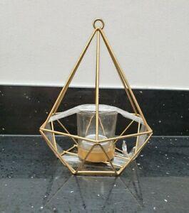 Kirkton House (Aldi) Metal & Glass Gold Effect Candle Lantern Indoor/Outdoor BNI