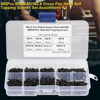 400Pcs M2/M2.6/M3 Assorted Black Cross Pan Head Self Tapping Screws Set with Box