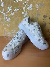 Womens Converse One Star Ox Platform Silver And White Polka Dot Size UK 4