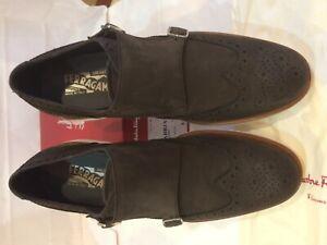 Salvatore Ferragamo Men Brown Suede Shoes'FABBRIANO' Size-9EE Double Strap
