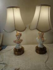 Mid Century Porcelain Dresser Doll Vanity Lamps