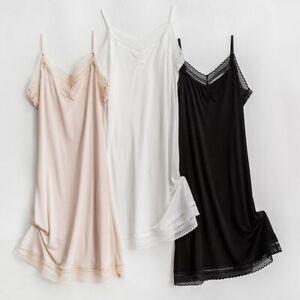 Women's 50% Silk 50% Viscose Knit Full Slip Nightdress Sleepwear Chemise TG109