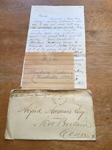 1870's Handwritten Letter Abraham Andrews Danburry Family West Winsted Ct Hart