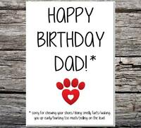 funny card from the dog happy birthday dad sorry for chewing/farts etc