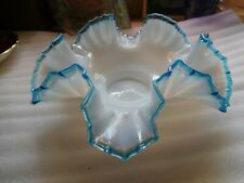 VINTAGE  CASED WHITE GLASS RUFFLED DISH WITH BLUE GLASS TRIM