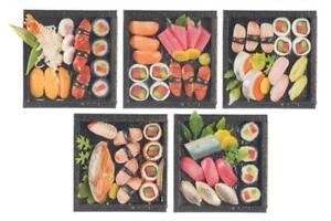Dolls House 5 Trays of Japanese Sushi Food Cafe Dining Accessory