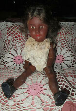 VTG BLACK AFRICAN AMERICAN COMPOSITION GIRL DOLL JOINTED 8""