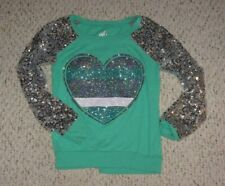 Sea Green Justice Top w/ Glittery Heart on Front & Silver Sequined Sleeves, 12