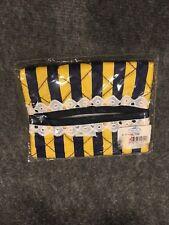 "Tissue holder Pocket Fabric Purse 5"" x 3-3/8"" Striped Yellow Navy Blue"