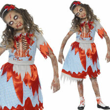 Dorothy Zombie Country Girl Fancy Dress Halloween Child Outfit Age 4-6 - New