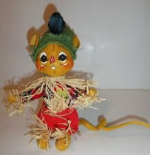 """Annaee 2004 Scarecrow mouse painted decoration 10.5"""""""