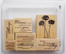 Stampin Up Happy Harmony Set Flower Sayings Sentiments Phrase Rubber Stamps #25B