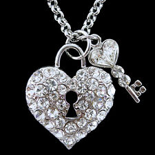 Twinkling Big Heart Key USE Austria Crystal Necklace