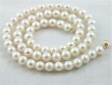 7-8mm natural white salt water pearl necklace 17 inchs 9k clasp x-02