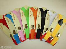 BOYS GIRLS KIDS CLIP-ON Y-Back Elastic Suspenders 1.5CM WIDTH Set of 8 all clrs
