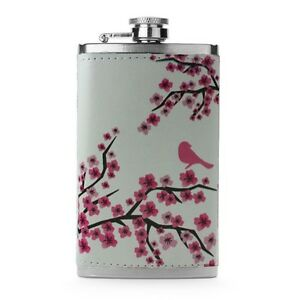 Leather Wrapped 6oz Stainless Steel Hip Flask FSK21 Pink Cherry Blossom Flowers