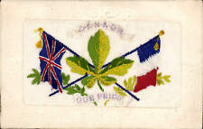 WW1 Embroidered Silk. Canada. Our Pride. Maple Leaf, Union Jack & French Flag.