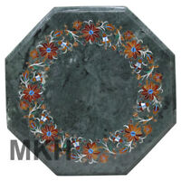 Coffee Table Marble Side Table Top Inlay Gem Stone End Table Vintage Marquetry