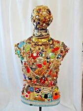 Decorated Mannequin Torso on Heavy Duty Metal Stand Costume Jewelry Buttons